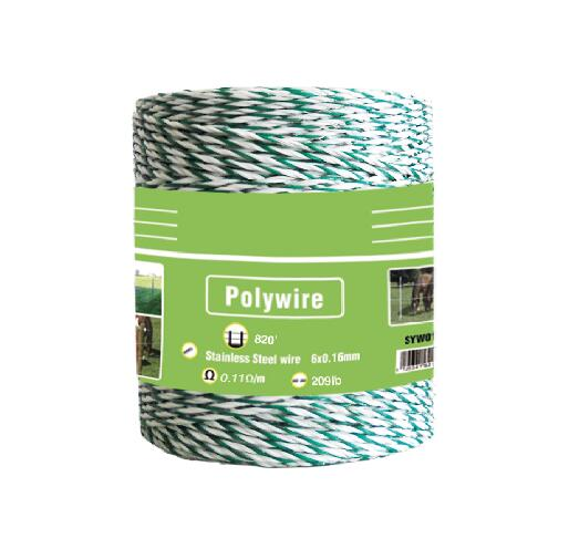White Green Polywire 820'