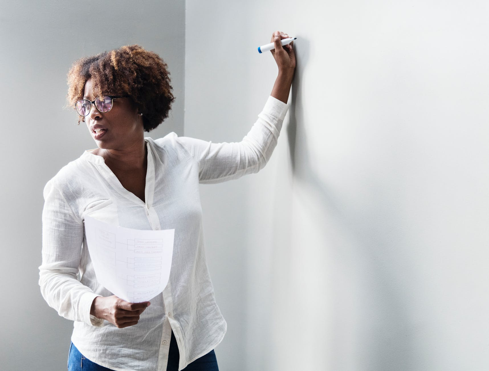 Talent retention: Woman writes on a white board