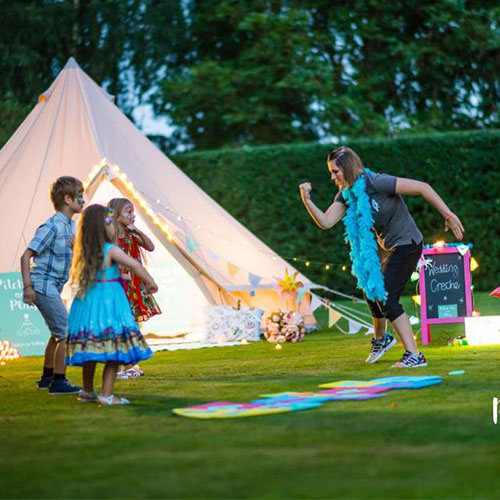 Amy Young Dance kids wedding entertainment outdoors in a campsite