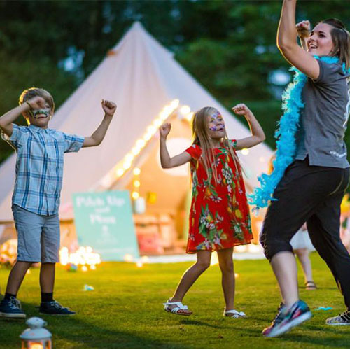 Amy Young Dance kids wedding entertainment outdoors in a campsite. Learning a dance routine.