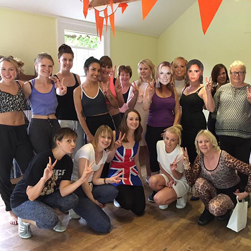 Hen party daytime activities with Amy Young Dance. Images of women at Spice Girls themed hen party.
