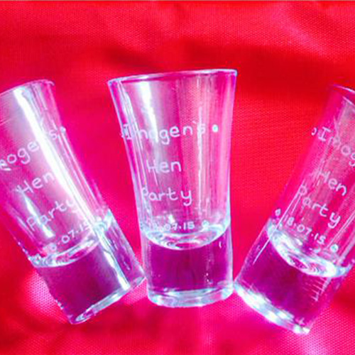 Amy Young hen party uk. Image of engraved shot glass gifts.