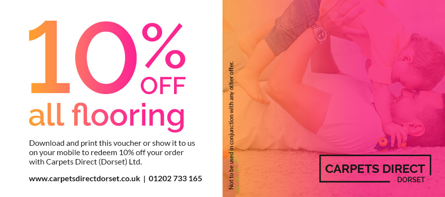 Voucher for 10% off all flooring at Carpets Direct Dorset - Click to download PDF