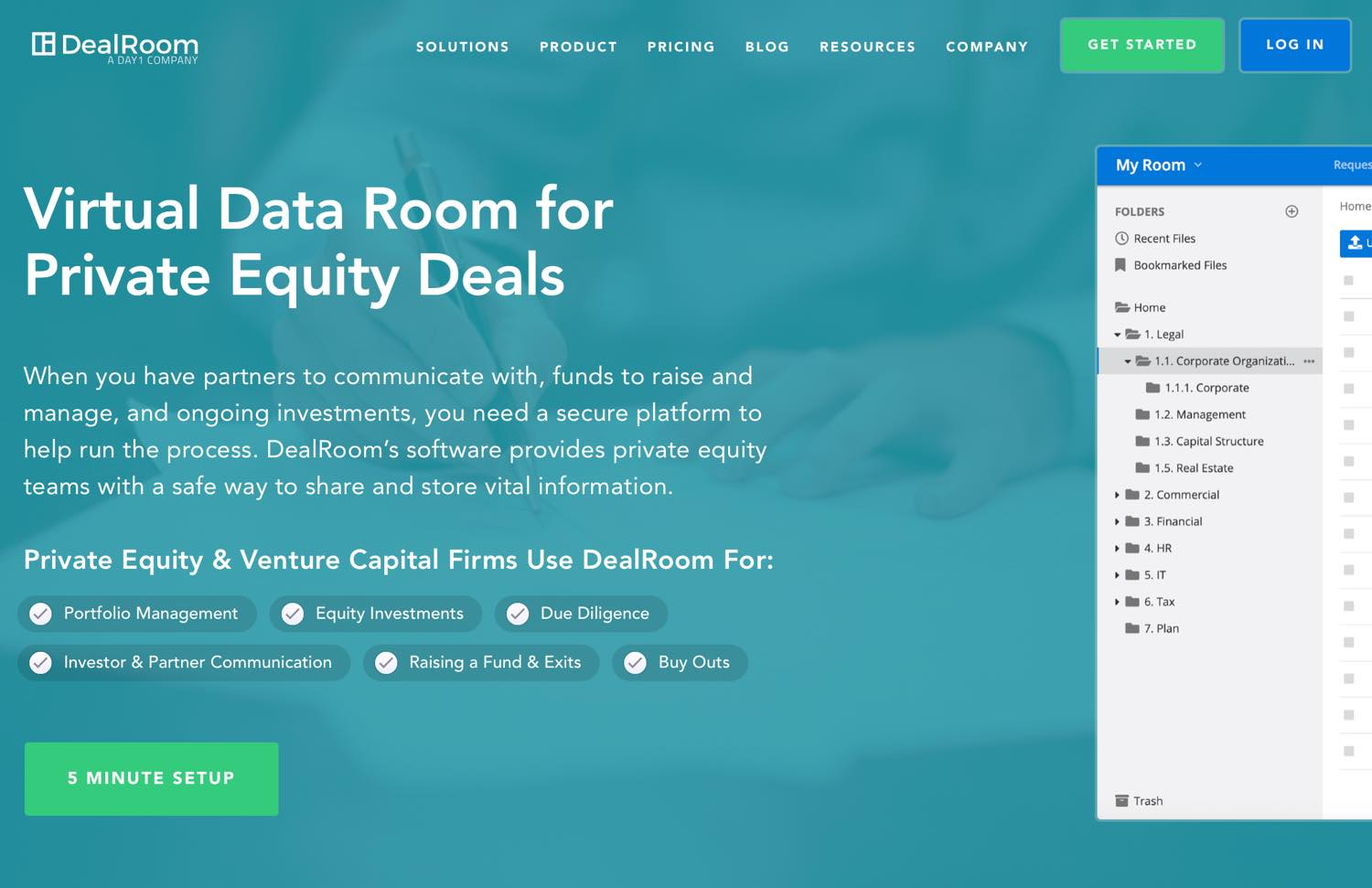 setup private equity data room