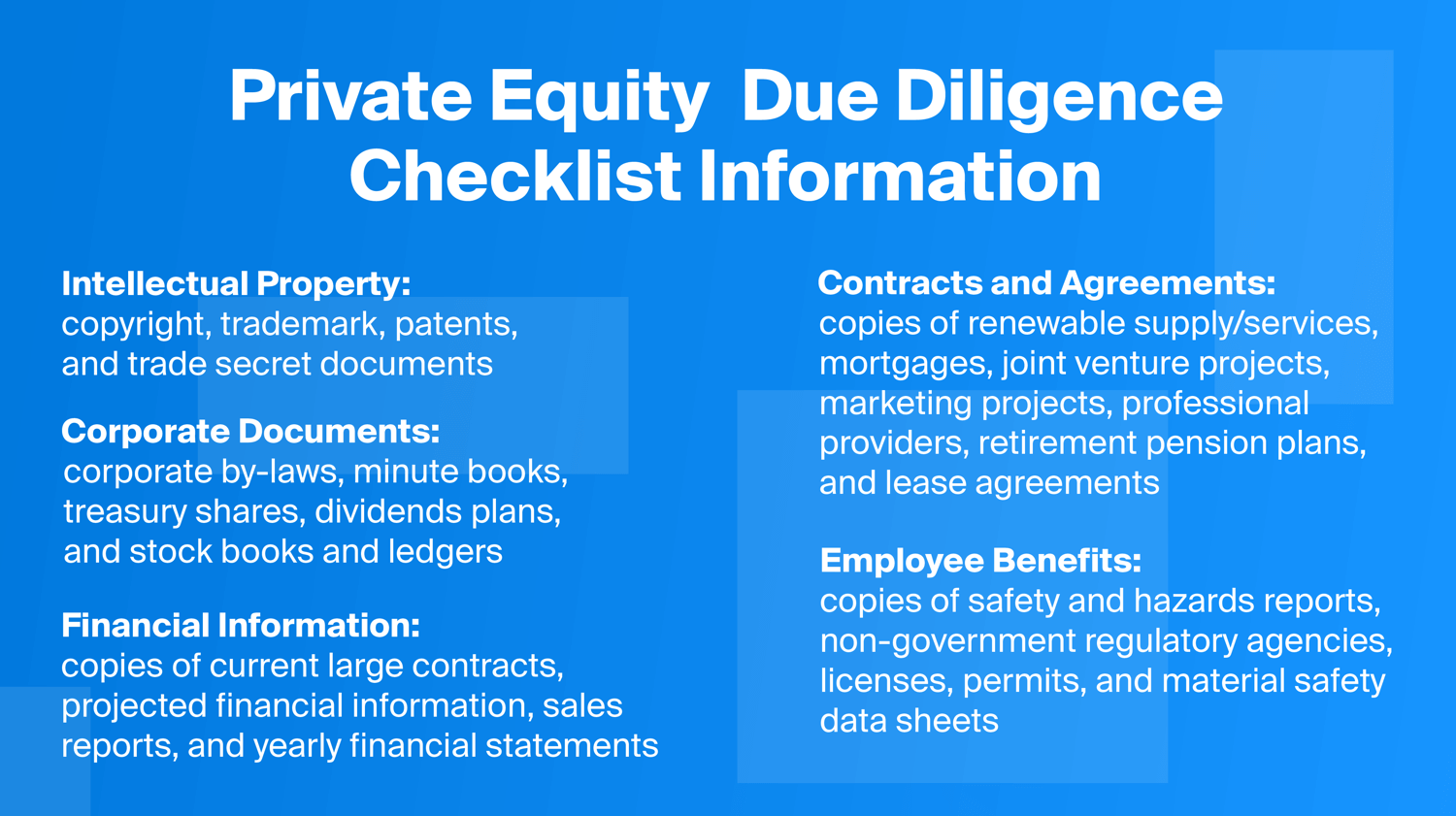 Private Equity Due Diligence Checklist
