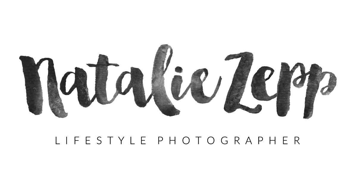 Brand Refresh by Katie Schwarz Design for Natalie Zepp Photography. Watercolor logo; black and white hand painted ink texture.