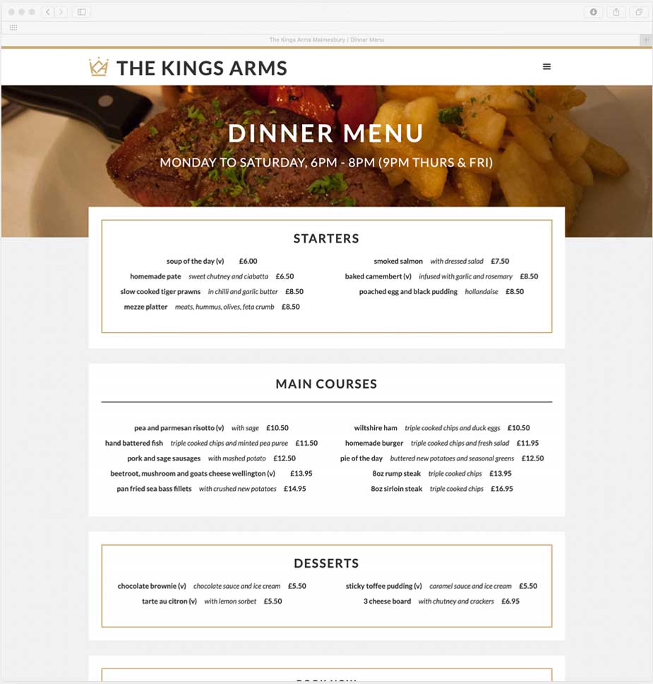 The Kings Arms Restaurant Menu Webpage by Lunalight