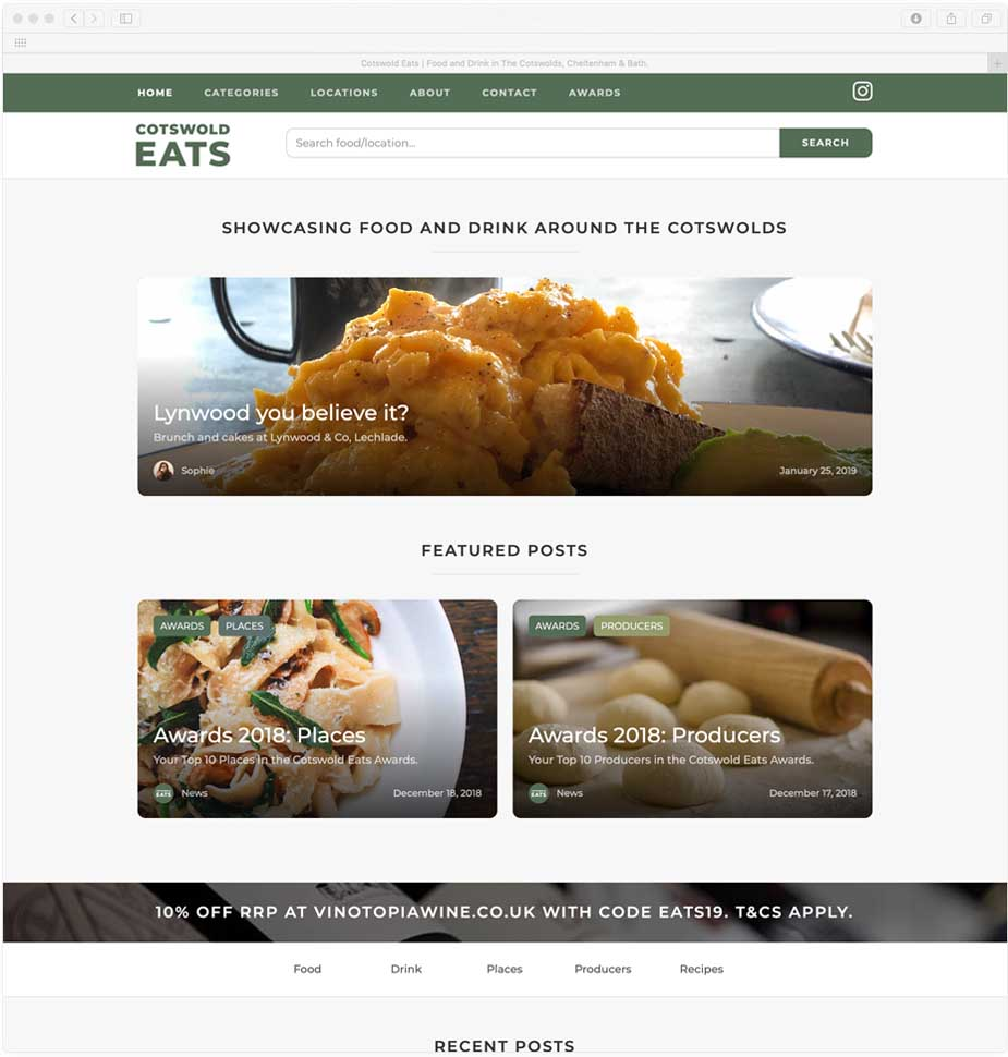 Cotswold Eats Website Homepage by Lunalight