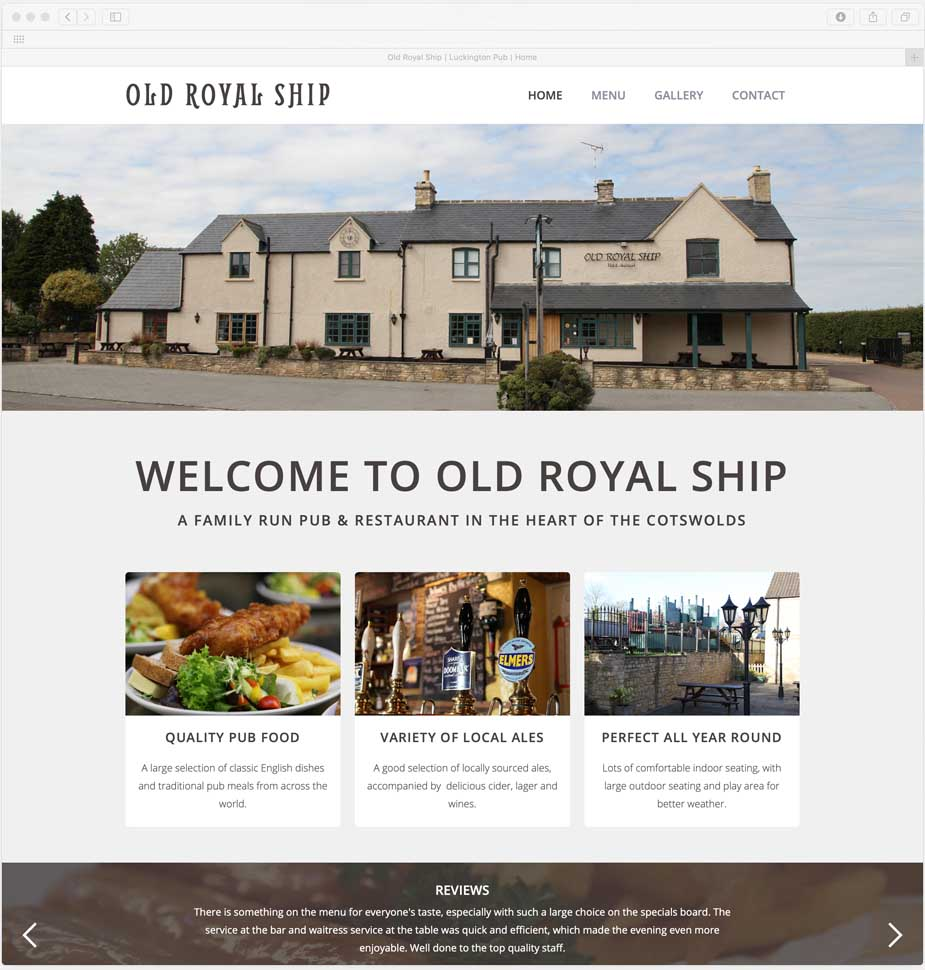Cotswold Pub Website Design for Old Royal Ship, by Lunalight Limited