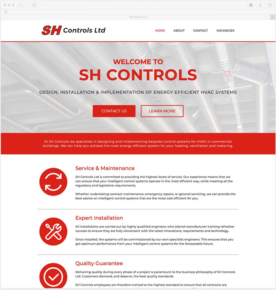 Lunalight Cheltenham's Responsive Website for SH Controls Bristol
