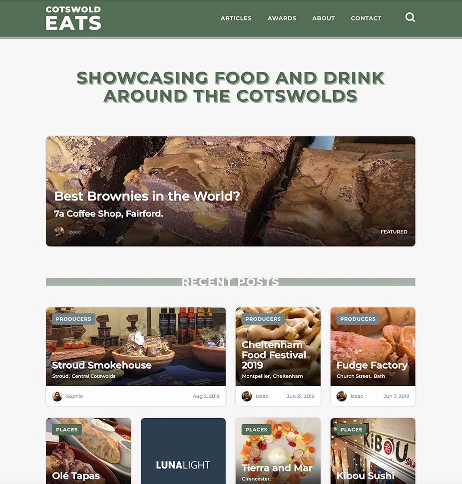 Cotswold Eats Website Homepage by Lunalight