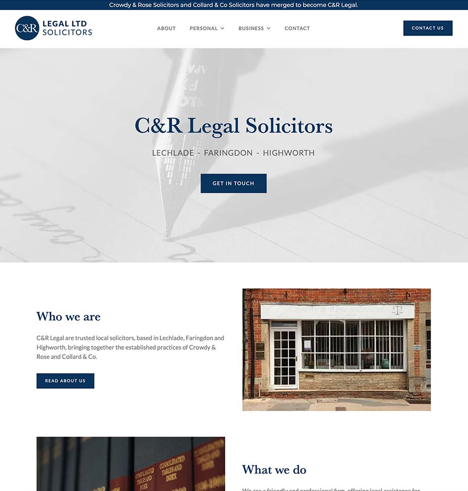 CandR Legal Solicitors Website Homepage by Lunalight Limited