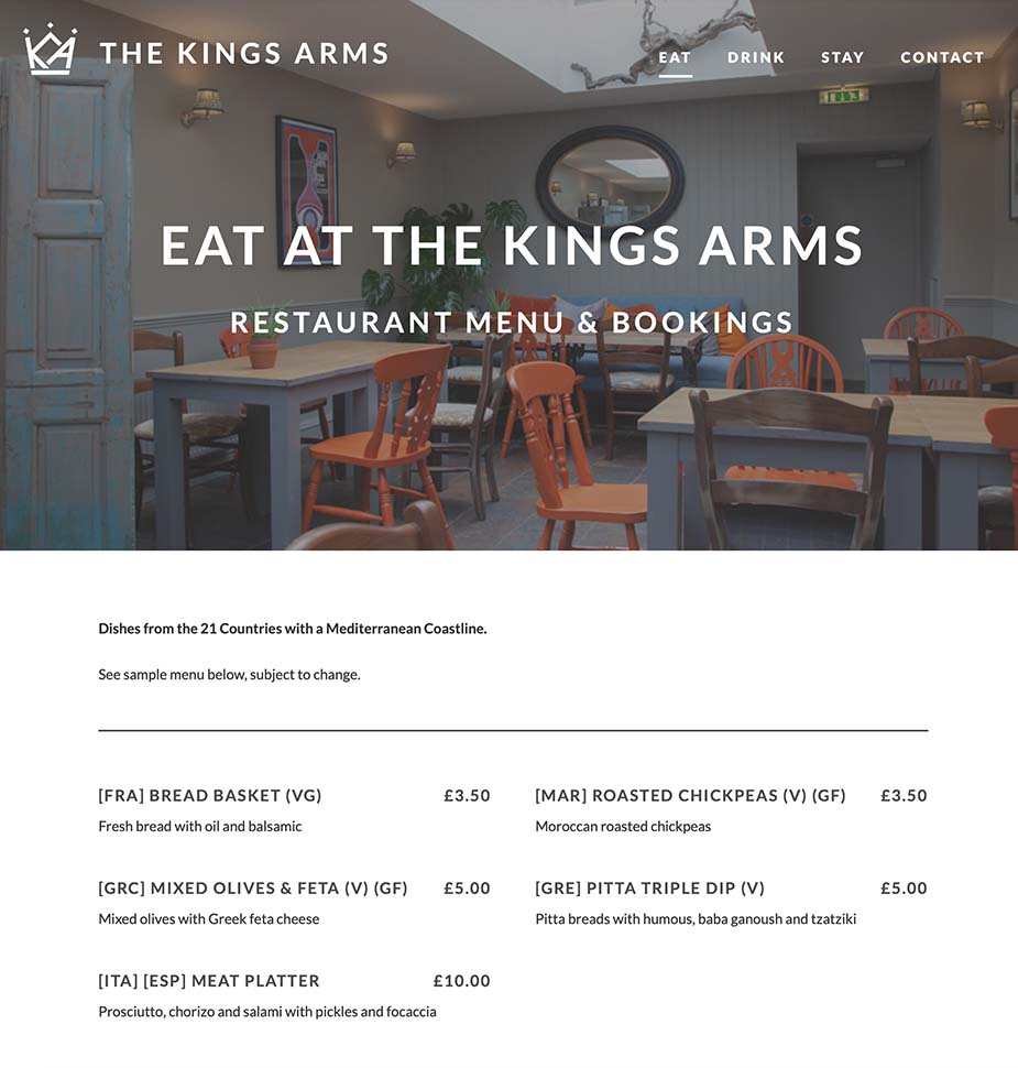 The Kings Arms Malmesbury Website Homepage by Lunalight Limited