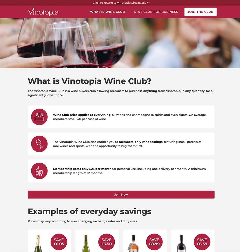 Vinotopia Wine Club Sign Up Website by Lunalight