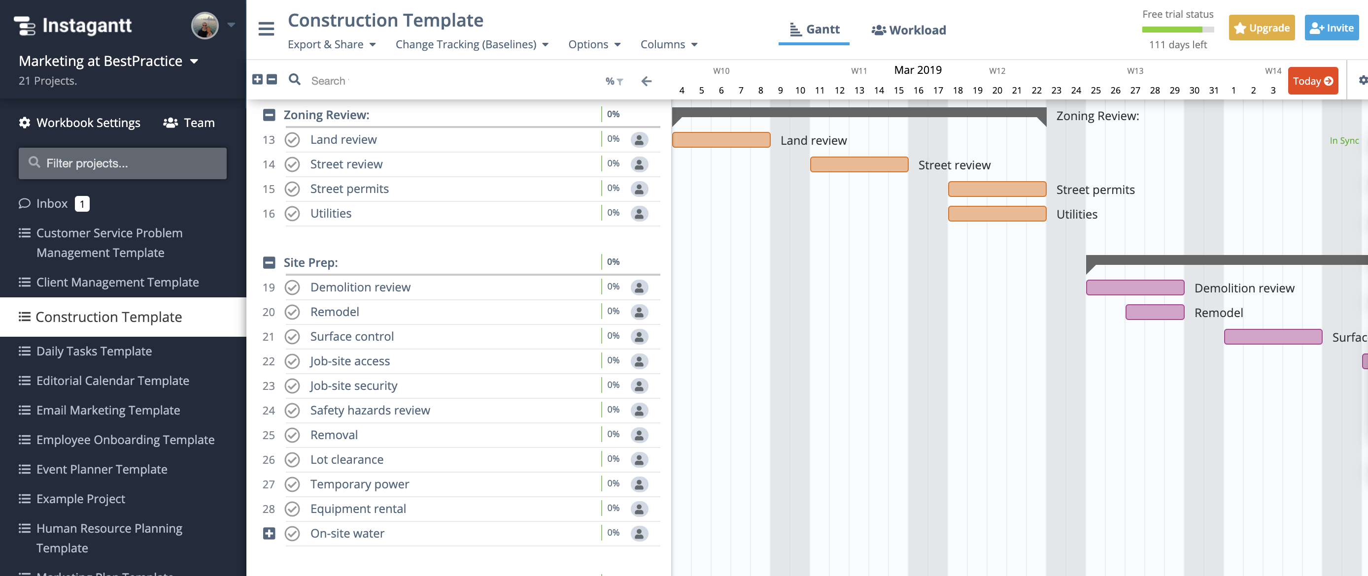 Construction Template Gantt Chart Example