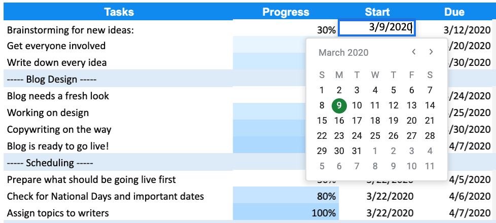 Gantt Chart for Google Sheets Example