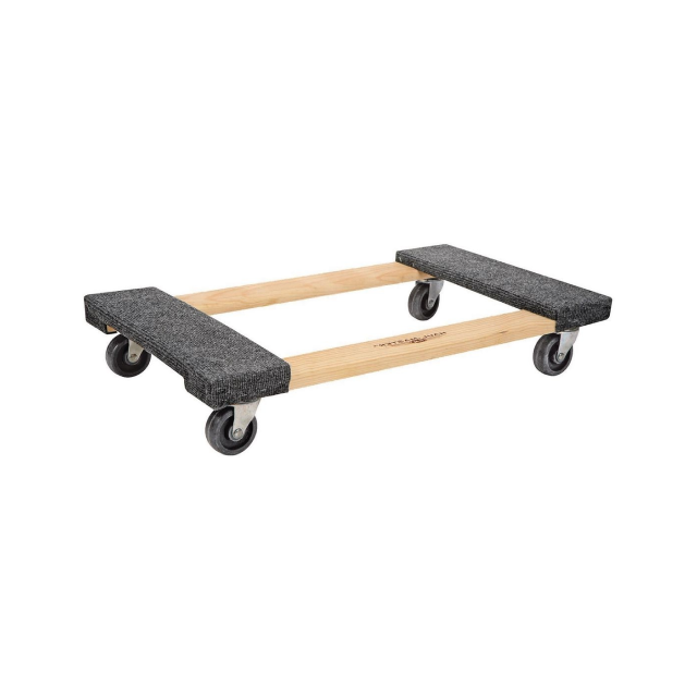 A wooden dolly with carpeted ends.