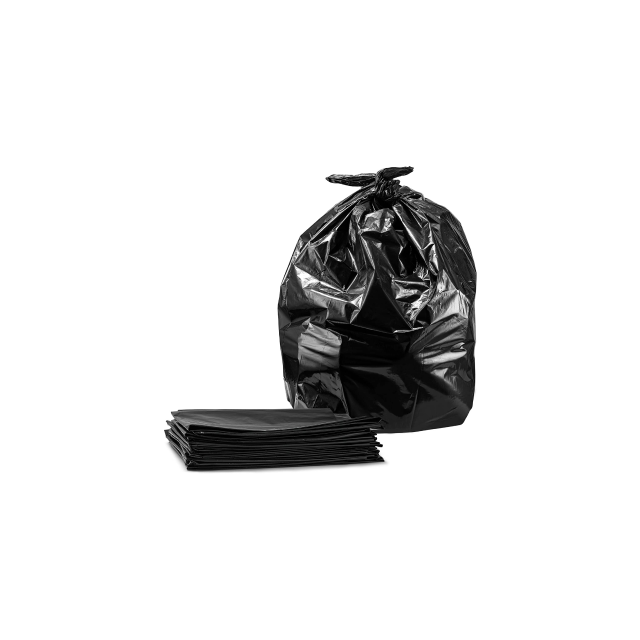 A full trash bag next to a stack of empty trash bags.