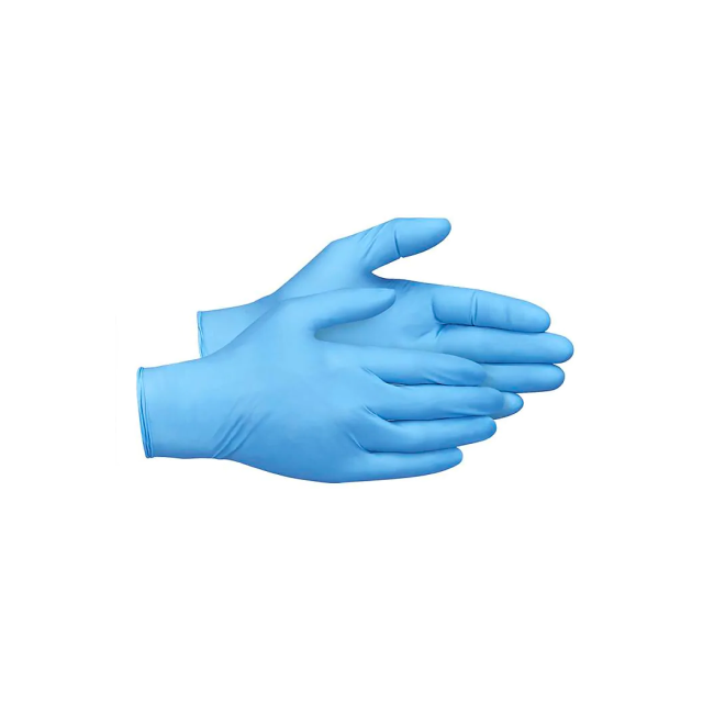 A pair of nitrile examination gloves.