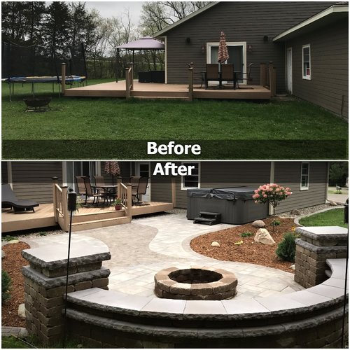 fire pit before and after
