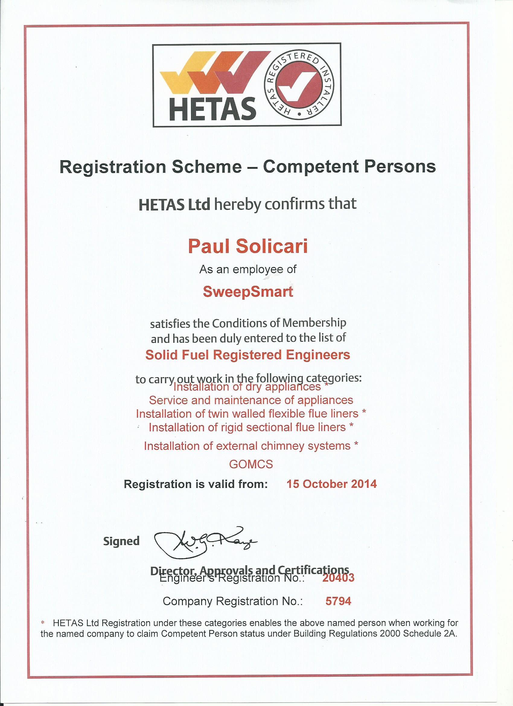 HETAS Reg