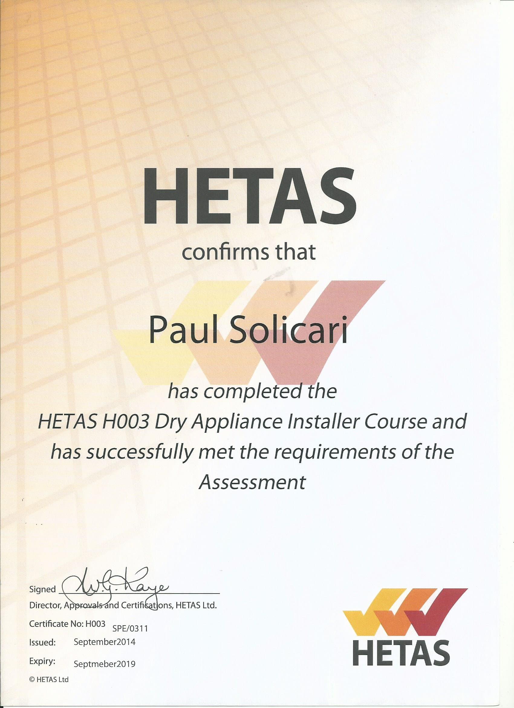 HETAS H003