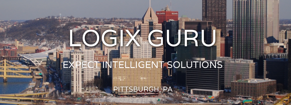 logix guru logo in front of downtown pittsburgh