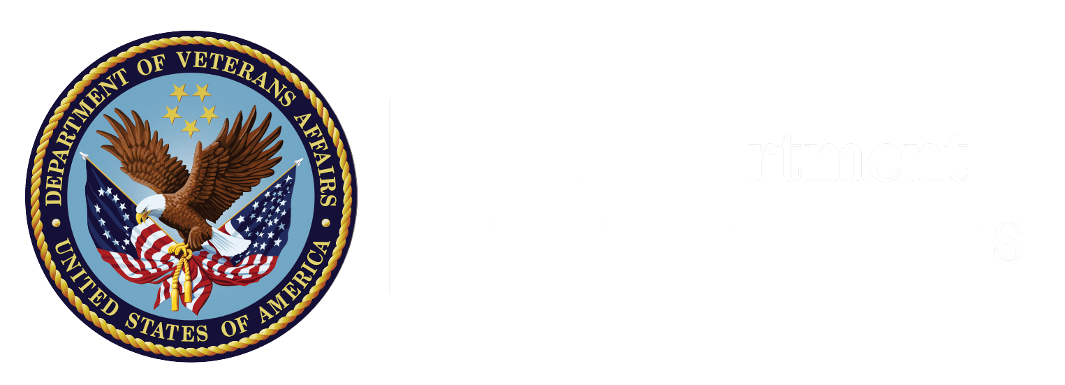 US Dept of VA Logo with White text.