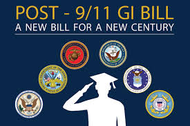 Post 9/11 GI Bill, person saluting below the seals  of the Military branches.