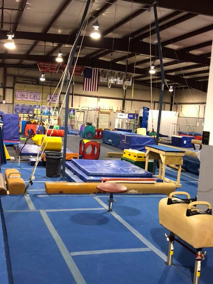 View of the gym equipment at Indiana Gymnastics Center