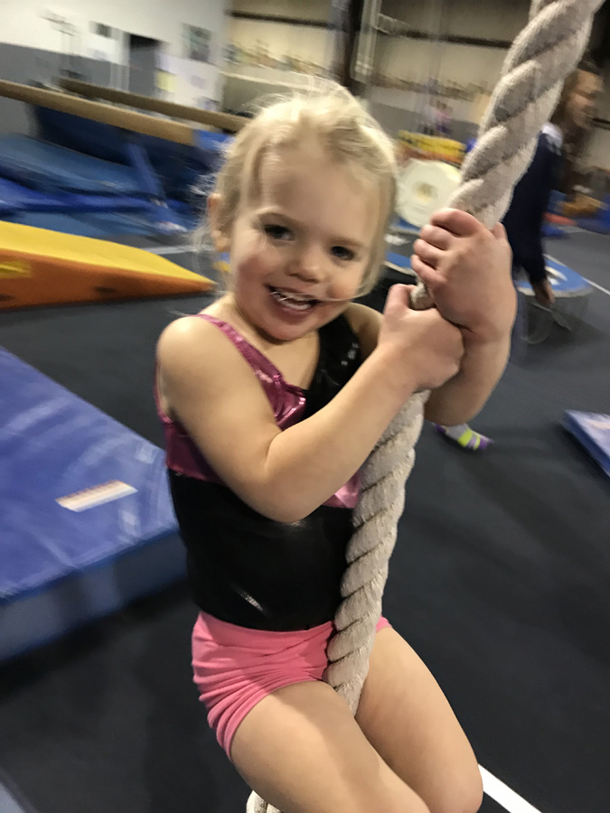 Swinging on the rope during the 4-5 Year Old class at Indiana Gymnastics Center