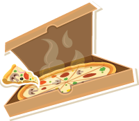 Illustrated open box of pizza