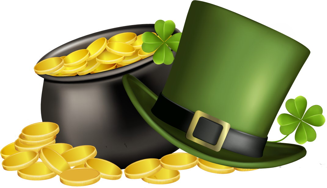 St. Patricks Day pot of gold, four leaf clover, and green top hat.