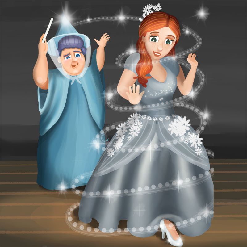 """""""Now go to the ball!"""" said the fairy godmother. """"But you must be home by midnight! When the clock strikes twelve, your dress will turn back into rags, ..."""