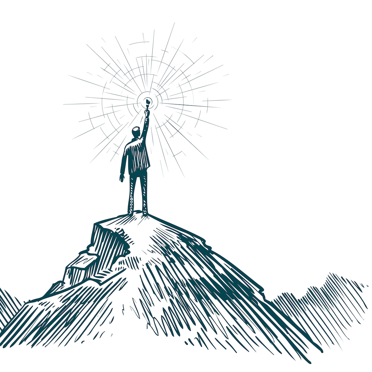 Image of person on top of mountain holding a torch.