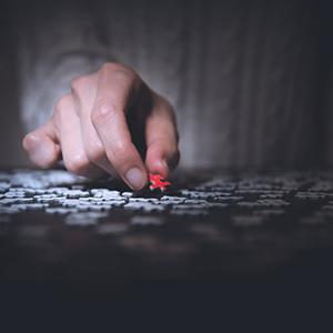 Image of a hand holding a red puzzle piece.
