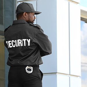 Image of security guard standing next to building