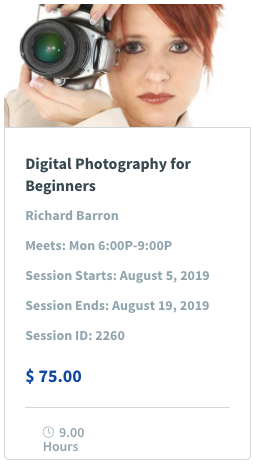 Digital Photography for Beginners Image & Class Promotion