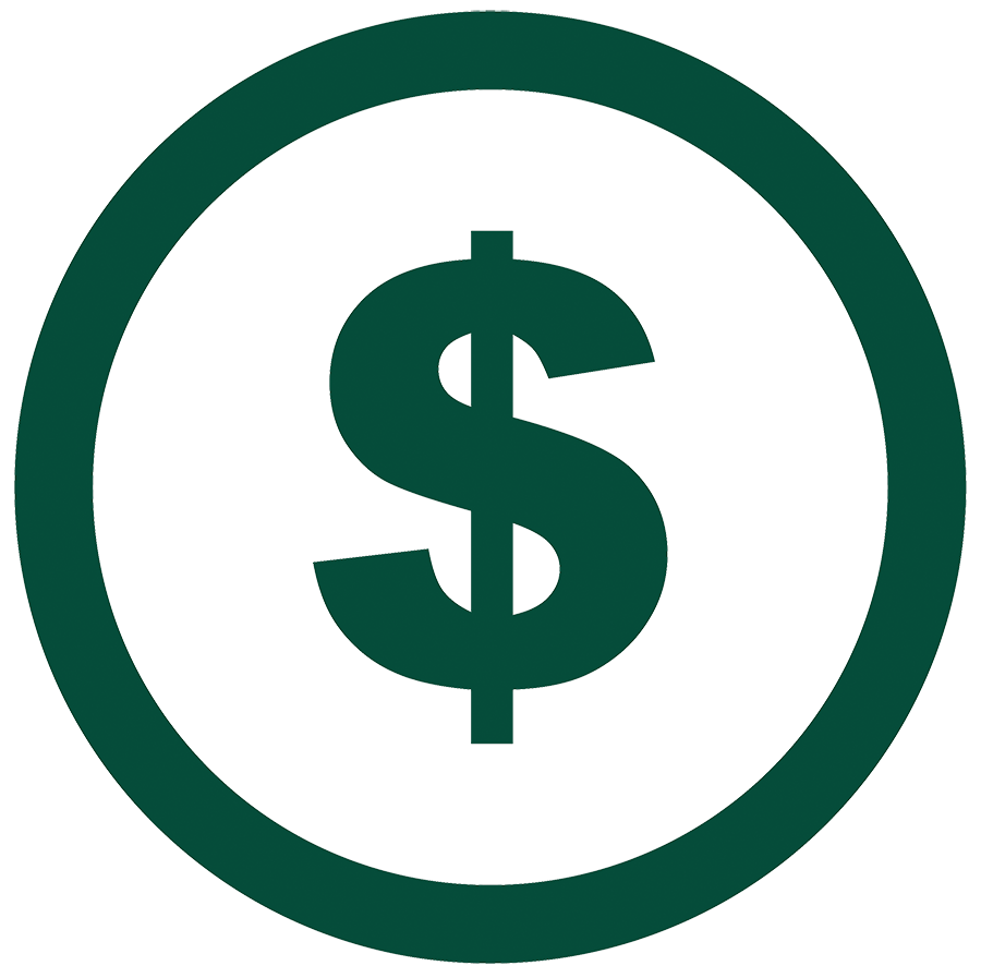 Logo of dollar sign inside of a circle.