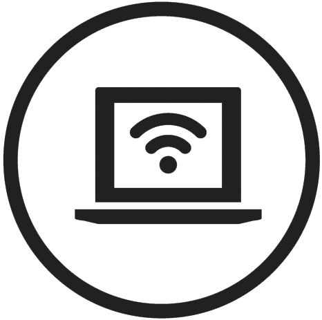 Image of laptop with wifi logo on screen