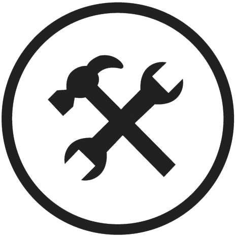 Icon of hammer crossing a wrench inside of a circle.