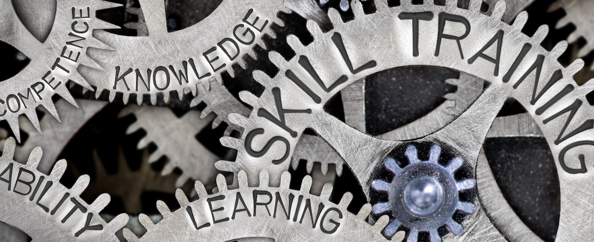 Image of gears with words written on them. Knowledge, Skill Training, Learning