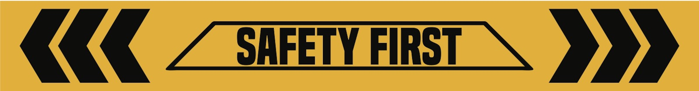 Picture of a yellow and black safety banner that says safety first.
