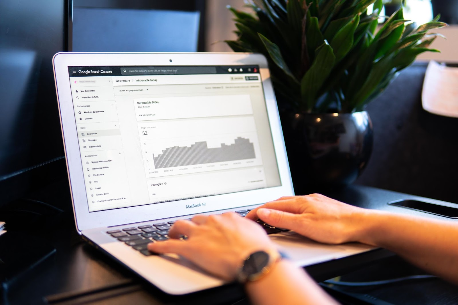 A Fratzke marketing consultant checks the search engine results of a client using Google Search Console.