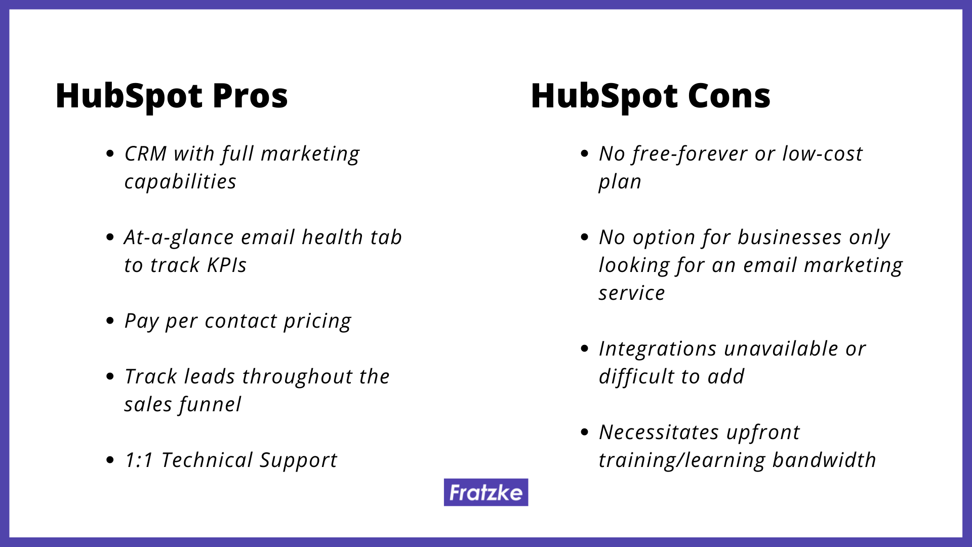 HubSpot pros and cons by Fratzke