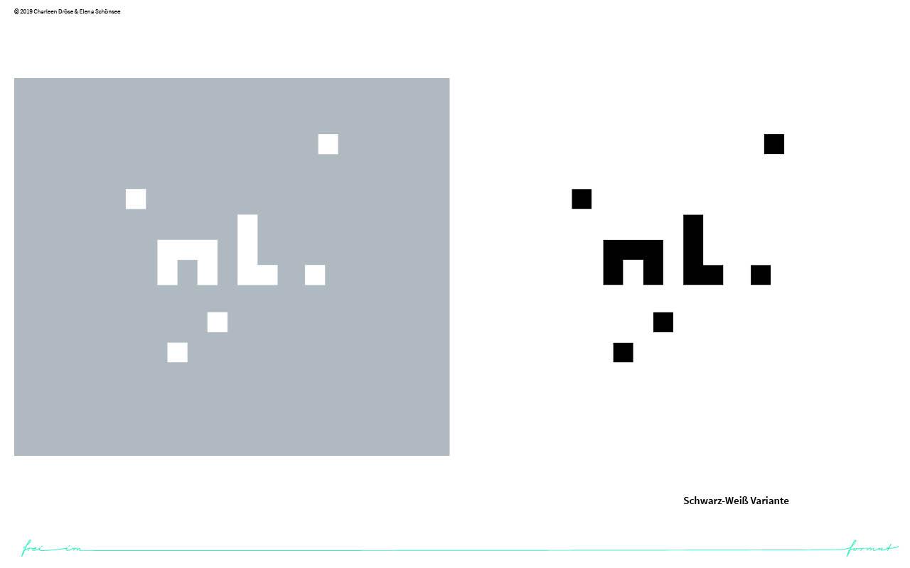 Einblicke in den Styleguide von next level. Das Logo in schwarz weiß..