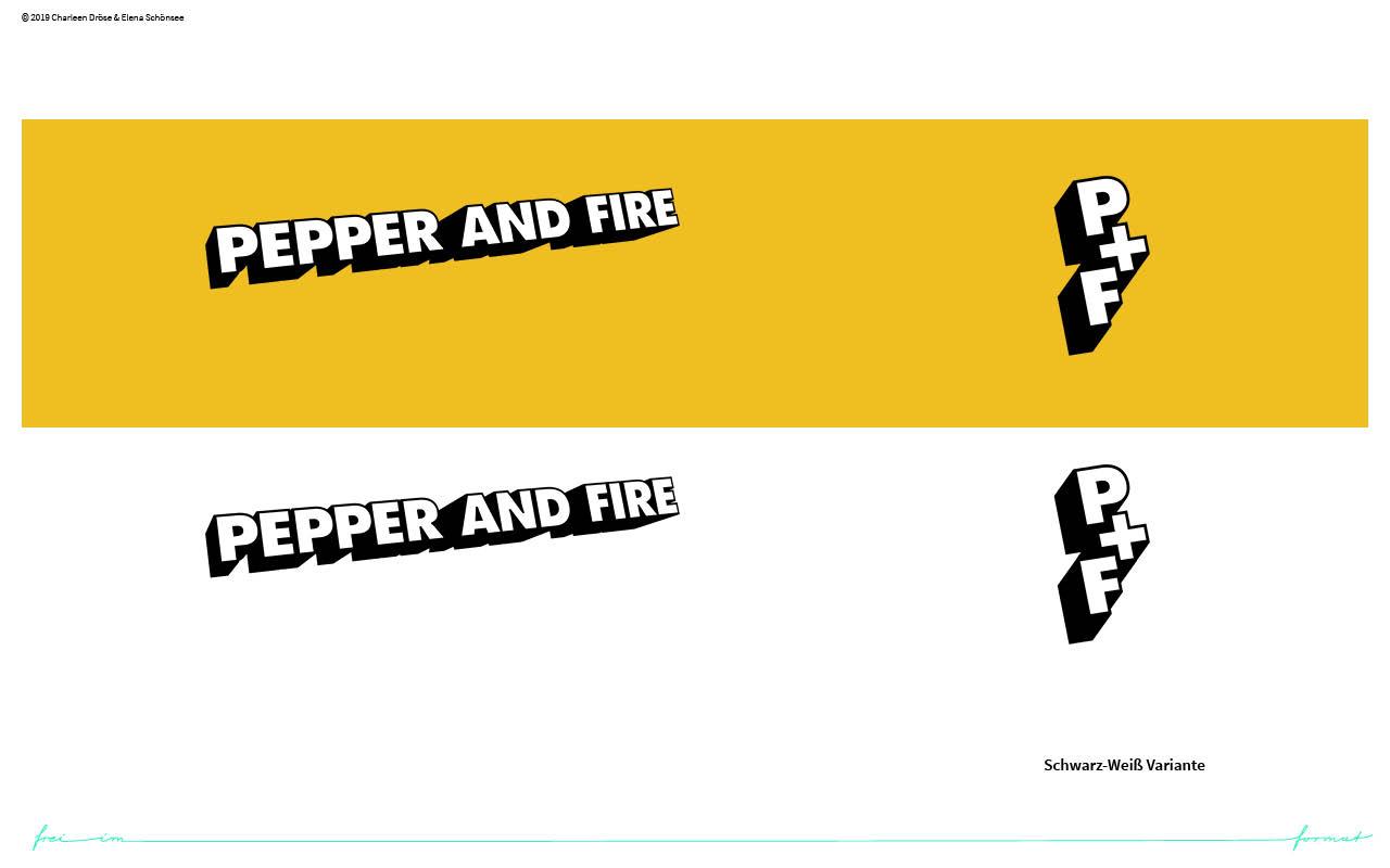 Einblicke in den Styleguide von pepper and fire. Die Logovariationen auf farbigen Grund.