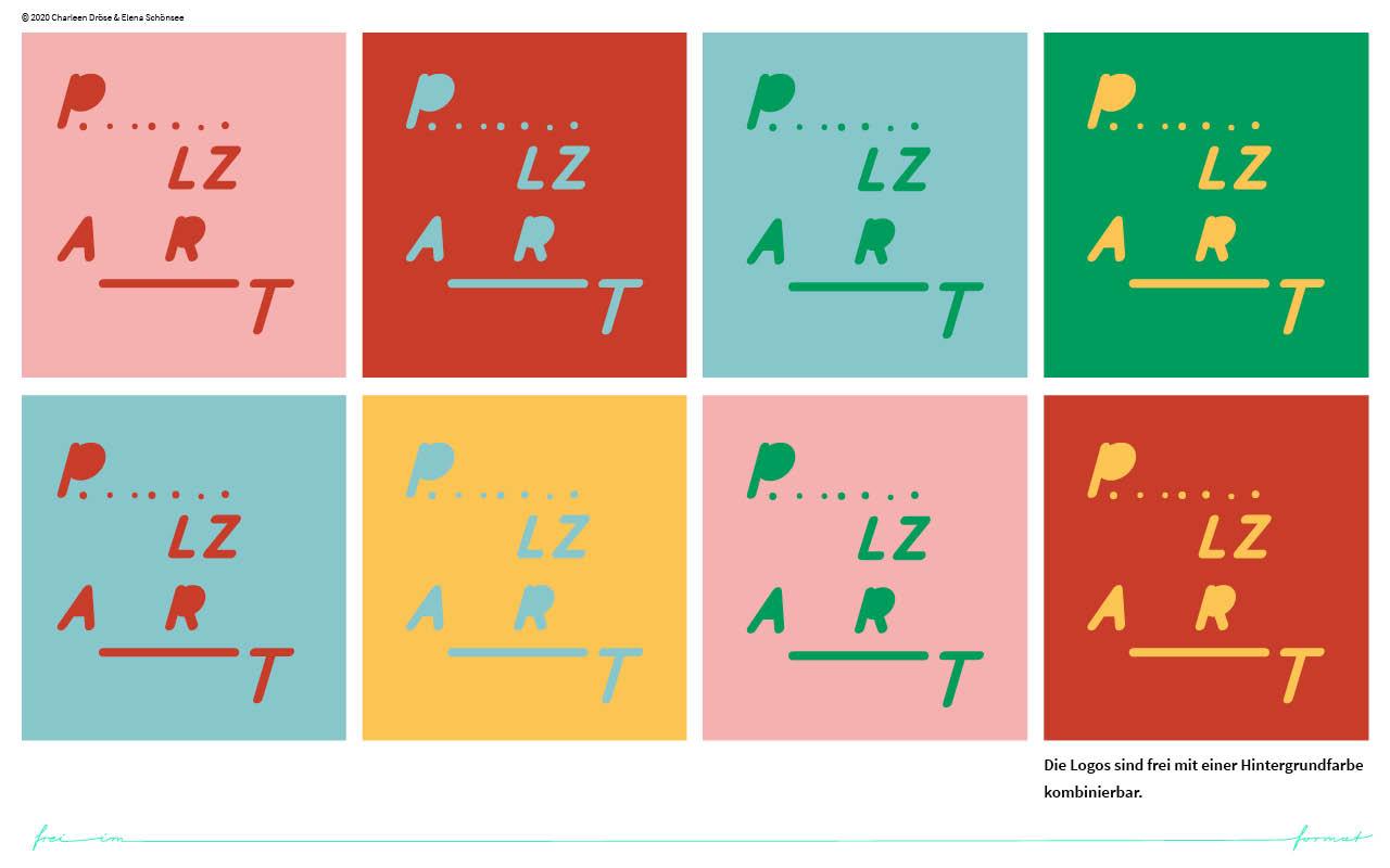 Einblicke in den Styleguide von PLZART. Die Logovariationen auf farbigen Grund.