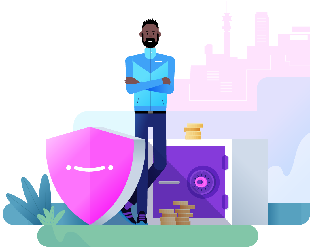 Man standing with a shield and a safe with money