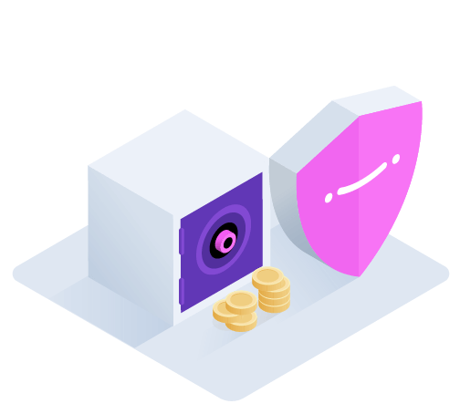 Shield and a safe with a pile of coins